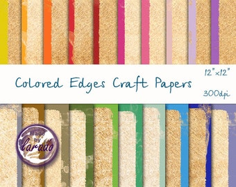 Colored Edges Craft Papers: Digital Paper Pack for scrapbooking, paper crafts, Instant Download