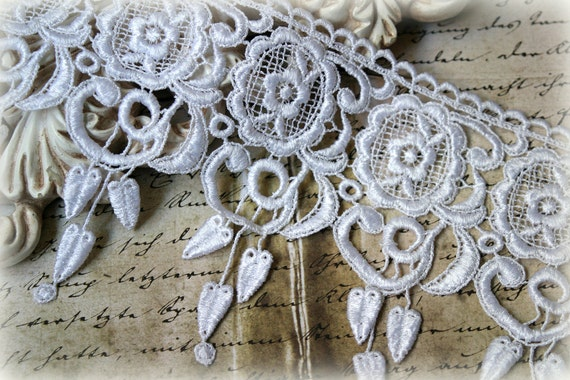 White Venice Lace Trim for Appliques, Altered Art, Costumes, Lace Jewelry, Headbands, Sashes, Sewing, Crafts GL-115