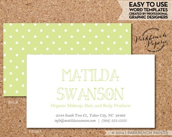 Business Card Template - Citrus green and White Dots -  DIY Editable Word Template, Instant Download, Printable