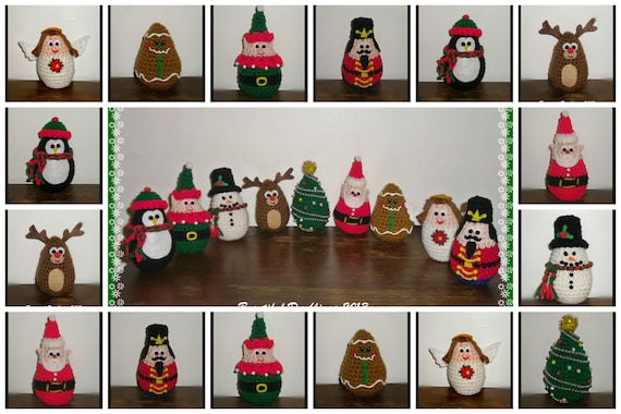 Christmas Eggles - PDF crochet PATTERN ONLY- Stuffed Christmas Decor, Christmas Characters, Decorations to Make
