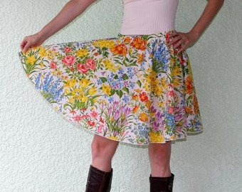 Vintage Tablecloth Circle Skirt Short - WILDFLOWERS! Flowers of all kinds -