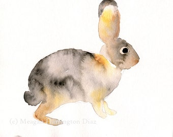 Watercolor Rabbit - Desert Cottontail -  Bunny painting - Southwest art - Nursery art