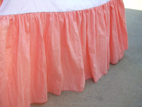 18 Drop Peach Light Coral Gathered Crib Dust Ruffle