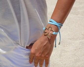 BOHO gold Flower Double Wrap Suede Bracelet / Necklace