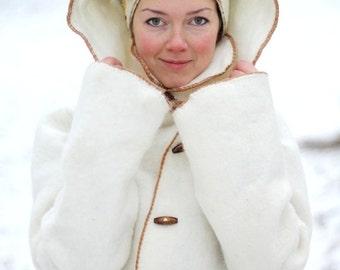 Merino wool winter coat, hand made wool coat, white custom made coat, felted coat with pockets and hood