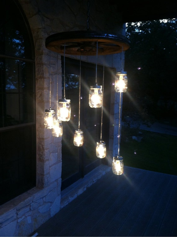 spiral wagon wheel mason jar chandelier small alternating length wagon wheel mason jar