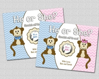 Gender Reveal Scratch Off Card - Cute Monkey He or She