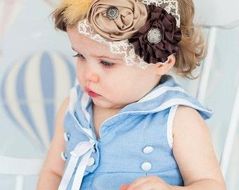 Brown and Beige/Ivory Vintage Style Headband, Photo Prop, Infant Headband, Baby Headband, Toddler Headband, Girl's Headband