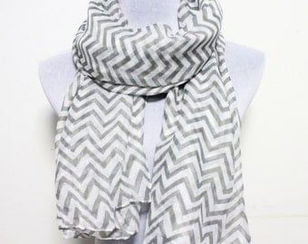 Gray Chevron and Color Block Scarf Chunky White Silky Gray Scarf