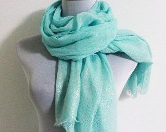 Super Soft Scarf Aqua Blue Scarf with Golden Sparklings Soft Fall Scaf Long Scarf Simple Fashion