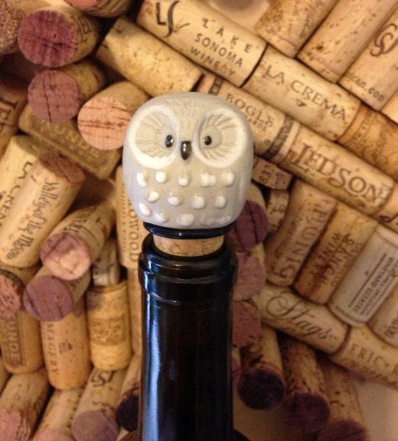 Decorative Wine Bottle Stoppers: Vintage Upcycled Decorative Owl Wine Bottle Stopper