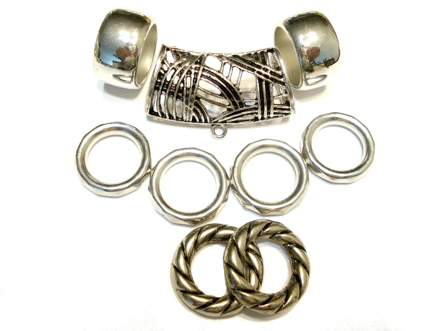 scarf jewelry bails rings 9pcs silver tone free shipping in