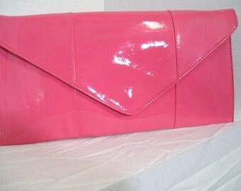 Sasha Clutch Purse Vivid Peach Patent Handbag With Optional Shoulder Strap  Classic Mad Men
