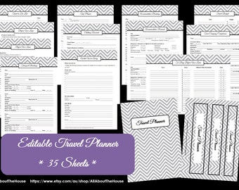 GREY EDITABLE Travel Planner Kit Chevron Printable PDF printable Printable Planner - Packing list - Before we Leave -Binder Cover and Spine