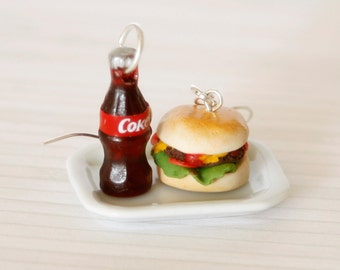 Polymer clay burger and coke earrings miniature food jewelry