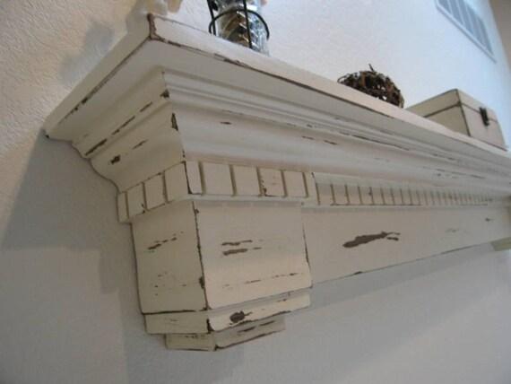 white distressed shelf or fireplace mantel the duke