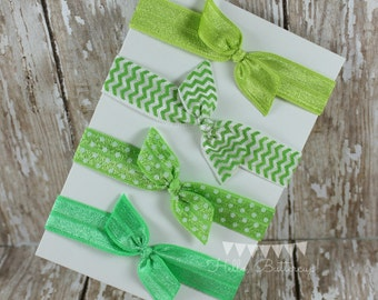 4 No Tug Elastic Hair Ties - Green with envy - Green hair tie set