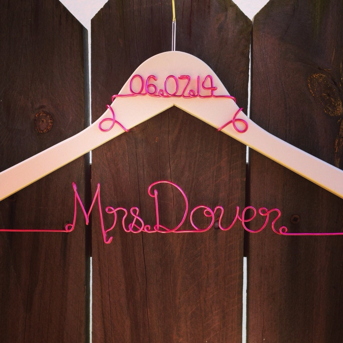 Personalized custom wire wedding hanger wedding dress hanger for Personalized wire wedding dress hanger