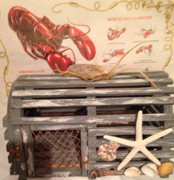Lobster trap table decoration painted simulated weathered gray - Trap decor ...