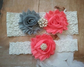 Wedding Garter Set - Silver/Coral  Flowers on a Stretech Ivory Lace with Pearls, Rhinestones  -Style G5052