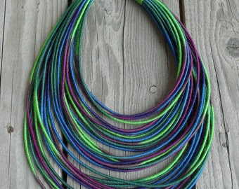 Dark Ocean yarn-wrapped necklace / tribal / hippie / bohemian / thread wrapped