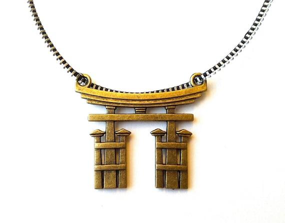 Japanese Torii Shinto Gate Zipper Necklace