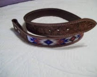 Beaded western belts, the bead strip is inset into leather. Here are a number of options of colors and styles.