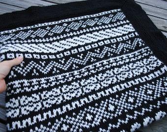 Fair Isle Knit Blanket, Hand-Knit