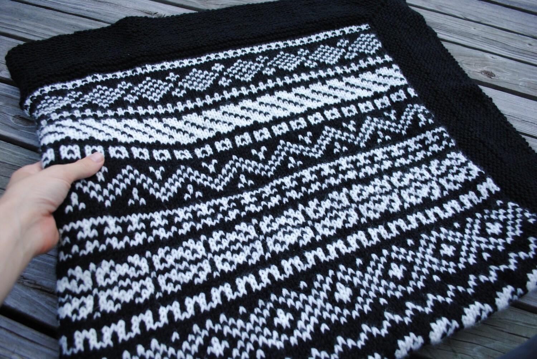 Fair Isle Knit Blanket Hand-Knit