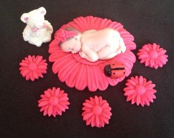 Fondant baby girl pink daisy cake topper