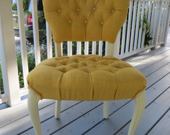 Vintage French  Shabby Chic Tufted Boudoir Chair