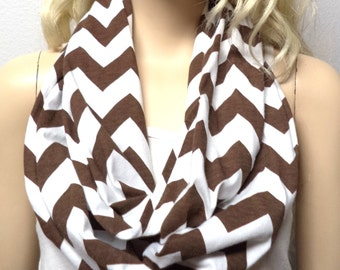 BROWN  & White Chevron Print  Infinity Scarf   Jersey Knit Gift Ideas