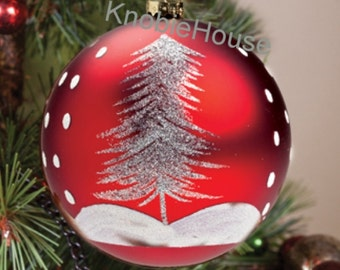 """4"""" - Large Vintage style Christmas Tree Red Bulb Ornament"""