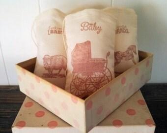 Baby Shower Favor Bag Stamped Muslin Gift Bag Party Bag Rustic Nursery Theme Set of 10