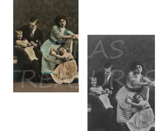 Vintage photo Postcards with a Family, Mum, Dad, son and daughter Postcards Digital Images for card making or Crafts