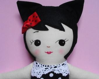 KAWAII CAT-GIRL -  Handmade plush toy ragdoll softie - Made-to-Order