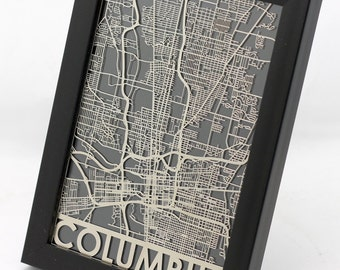 "Columbus Ohio Stainless Steel Laser Cut Map - 5x7"" Framed 