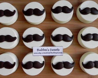 MUSTACHE Chocolate Covered Oreos (12) - LITTLE MAN Birthday/ Mustache Favors/Bachelor Party