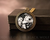Wolf Love Bronze Vintage Style Necklace - Wolf Necklace, Mother Wolf and Pups, Art Jewelry, Wolf Jewelry