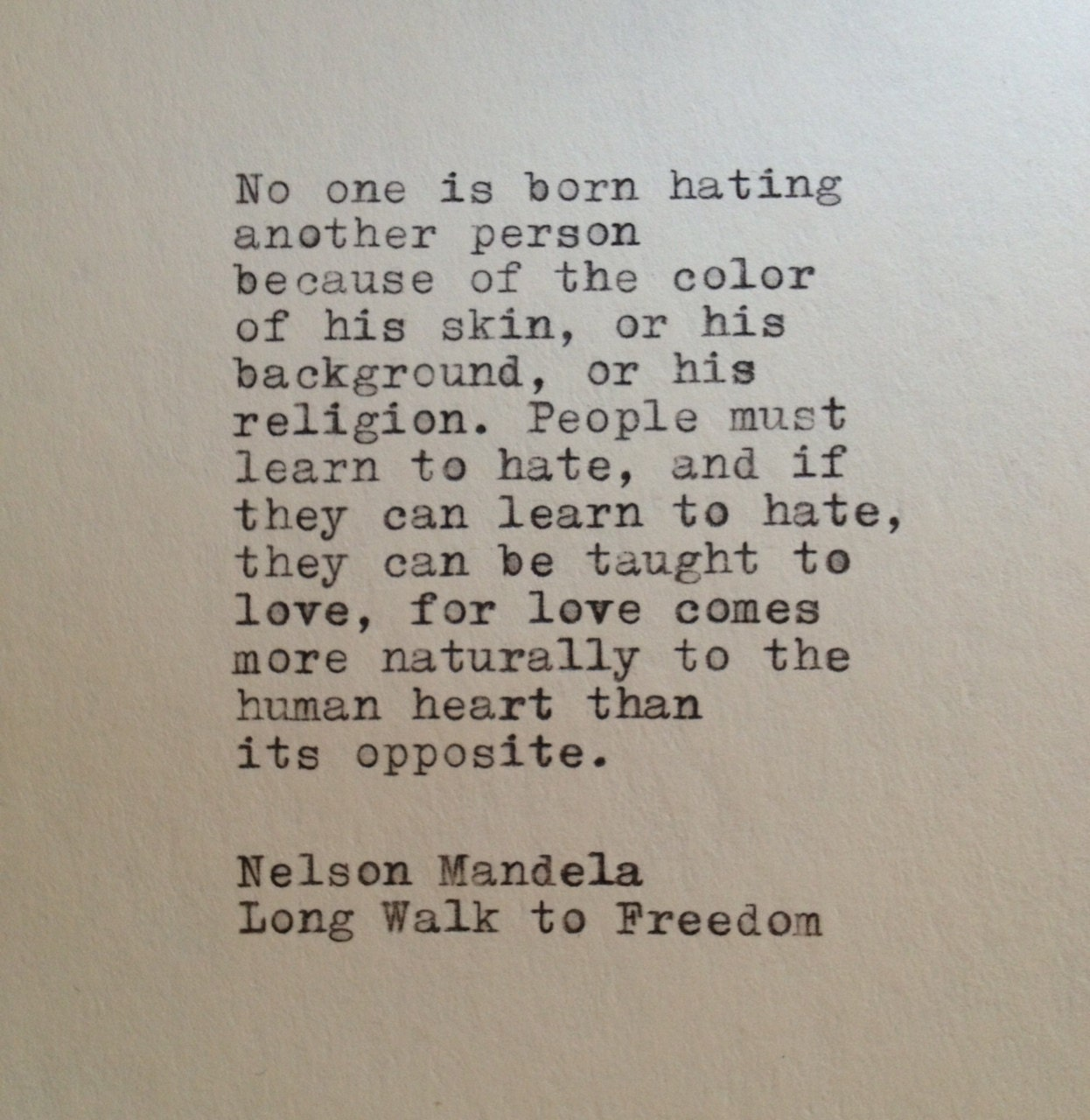 Spread Love Not Hate Quotes: Nelson Mandela Quote Typed On Typewriter By WhiteCellarDoor