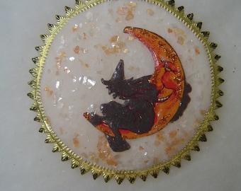 Witch & Moon Antique Vintage German Scrap Handmade Halloween  Tree Cotton Batting Glittered Mica Black Dresden Ornament