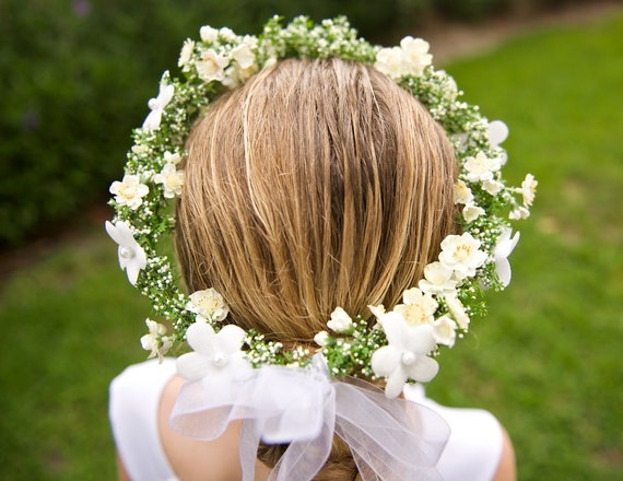 Flower Girl Hairstyles For Wedding: Off White And Green Wedding Hair Wreath Perfect As Flower