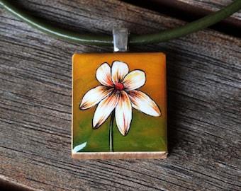 White Flower Resin Scrabble Tile Pendant Necklace