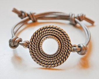 Good Karma Bracelet, Friendship Bracelet,Good Karma Symbol Natural Leather Friendship Bracelet,Yoga Bracelet,Karma Symbol,UK