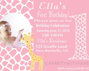 Giraffe  Birthday Party- Giraffe Birthday Invitation- Giraffe Birthday Party
