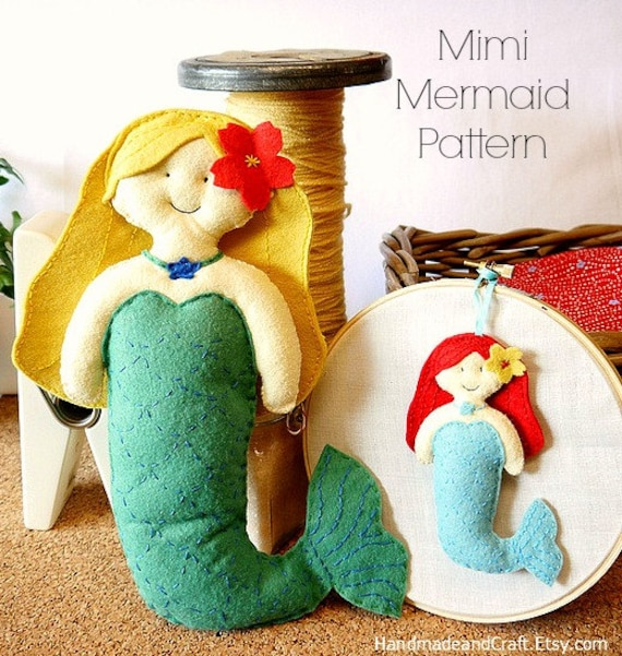 Mimi Mermaid Embroidery Pattern - Easy Little Mermaid Felt Plushie and Ornament - PDF Pattern - Instant Download