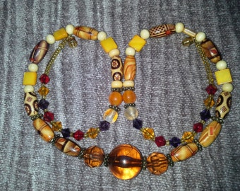Amber Shades of Myriad Beads Necklace