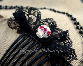 Day of the Dead, Sugar Skull Hair Clip Accessory, Hair Comb, Dia de los Muertos, Halloween Costume, Headpiece, Steampunk