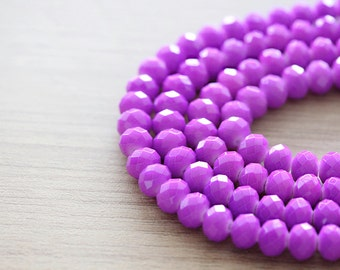 60 pcs of Shiny Magenta Purple Faceted Rondelle Glass Beads - 6 x 8 mm