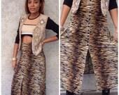 VTG Animal Print Long Skirt with front slit